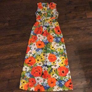 Vintage 60's BOLD Floral Maxi Dress Hawaiian Mod